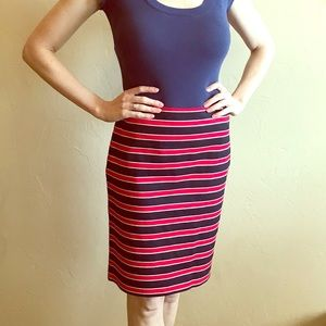 Red, white and navy pencil skirt
